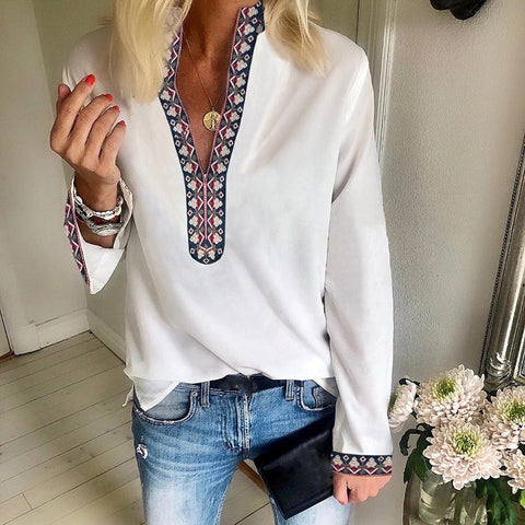 Casual Solid Color Printed Long Sleeve Shirt