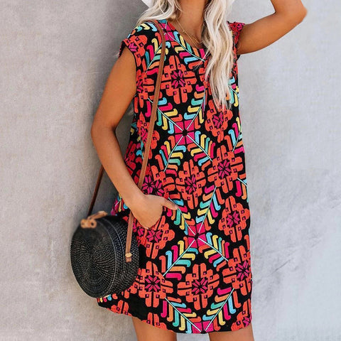 Casual Women Printed Short Sleeve Dress