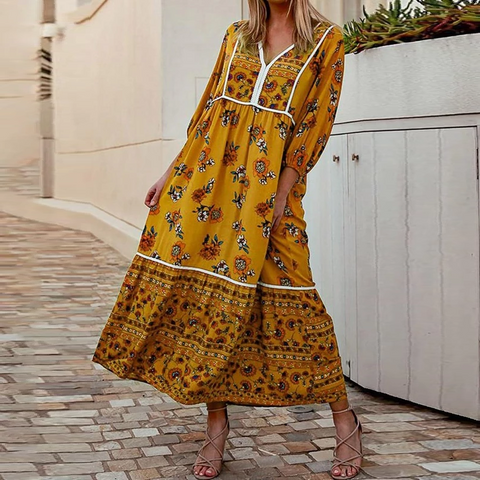 Bohemian V-neck Print Casual Maxi Dress
