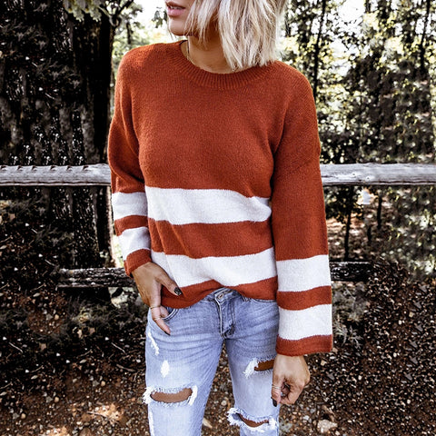 Casual Striped Shoulder Sleeve Round Neck Loose Sweater