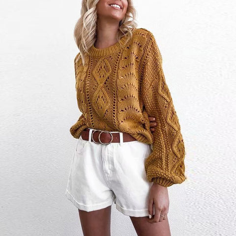 Round Neck Hollow Lantern Sleeve Sweater