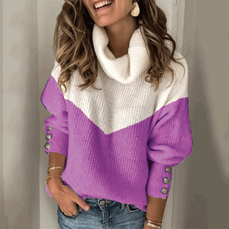 Fashion Color Matching Turtleneck Sweater