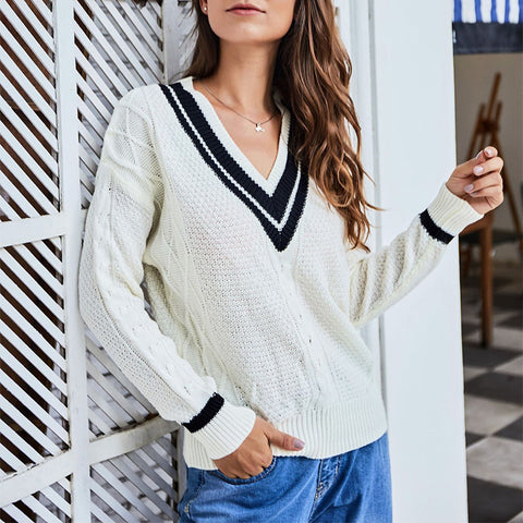 Leisure Pure Color V Neck Long Sleeve Sweater