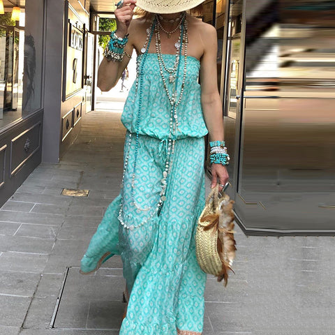 Casual Printed Color Off-shoulder Tube top Jumpsuit