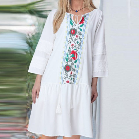 Bohemian Embroidered Ruffle Bandage Floral Print Long Sleeve Dress