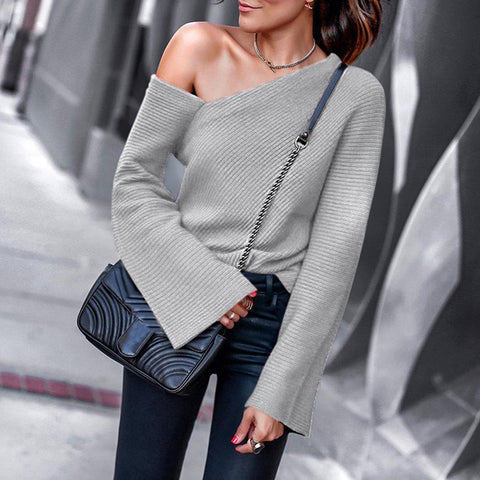Sexy Pure Color Off-Shoulder Long Sleeve Top