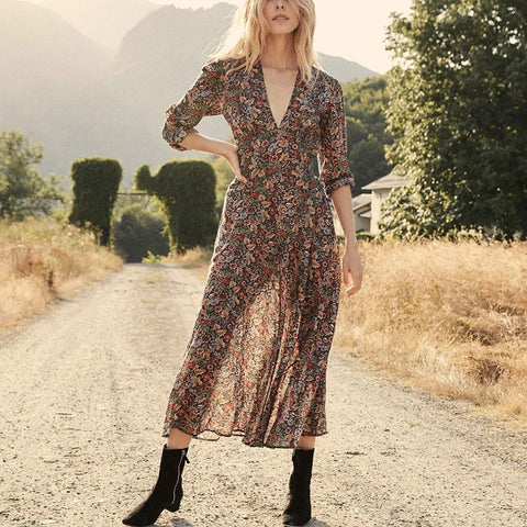 French Vintage V-neck Print Dress