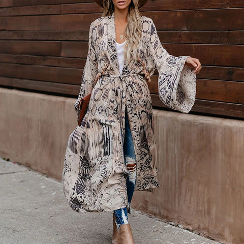 Fashion Loose Printing Long Lace Cardigan