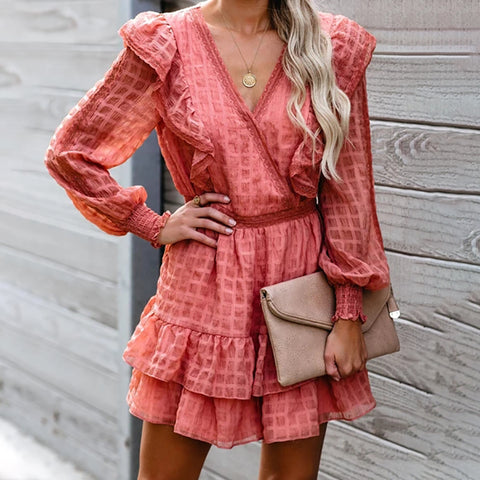 Casual V-neck Long Sleeve Checked Dress