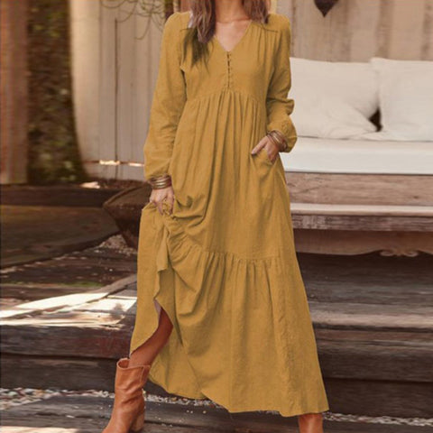 Casual Cotton And Linen Retro Casual Long Sleeve Vacation Maxi Dress