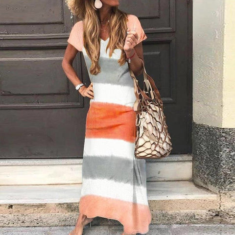 Casual Loose Colouring Striped Short Sleeves Ankle-length Maxi Dress