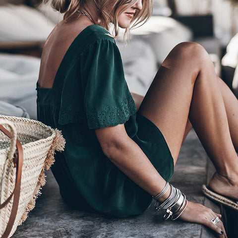 Elegant Loose Bare Back Lace Green Short Sleeves Mini Dress
