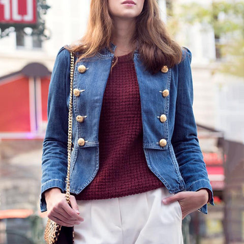 Casual Stand Collar Double-breasted Jacket
