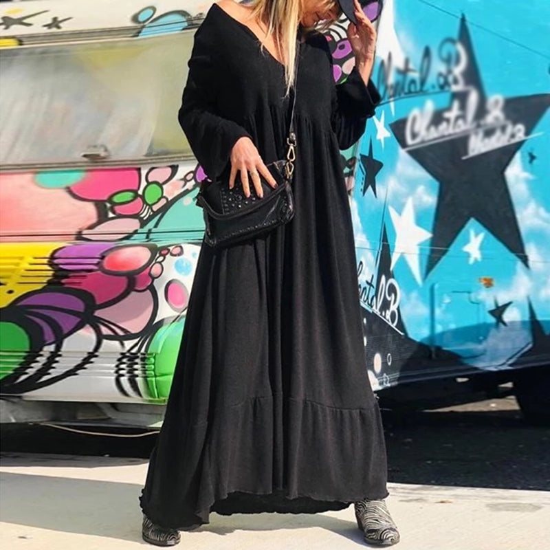 Bohemian V-neck Black Long-sleeved Loose Dress