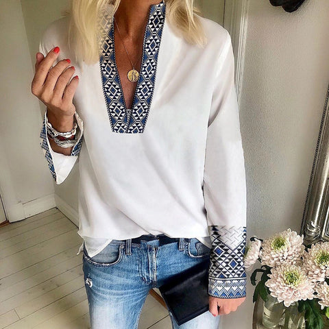Casual Deep V-neck Solid Color Long-Sleeved Shirt
