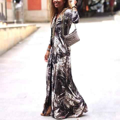 Individuality Printed Colour Split Long Maxi Dress