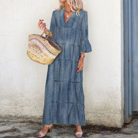 Casual Heavy Wash V Neck Bell Sleeve Maxi Dress