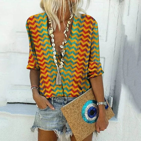 Boho V-Neck Color Pop Printed Shirt