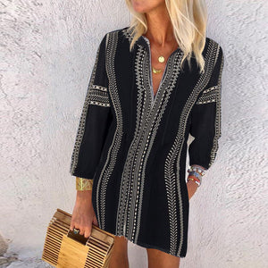 Commuting V Neck Printed Colour Long Sleeve Mini Dress