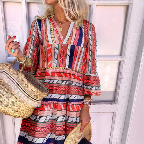 Bohemian V-Neck Print Long Sleeve Mini Dress