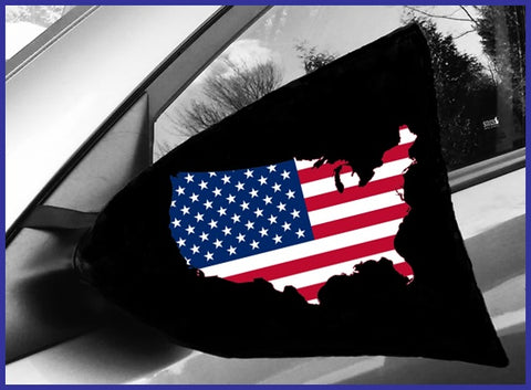 american flag-side view mirror cover