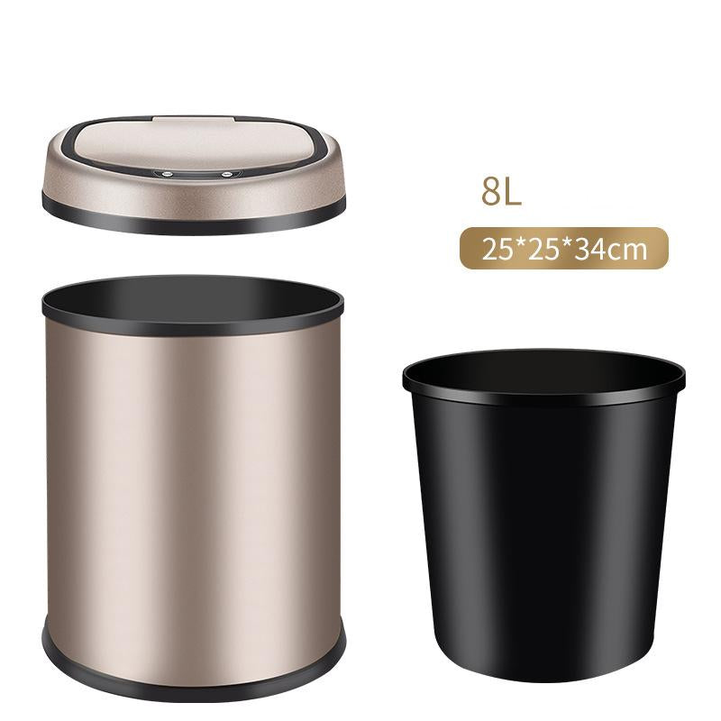 13 and 2.4 Gallon Touch-Free Sensor Automatic Stainless-Steel Trash Can 09R