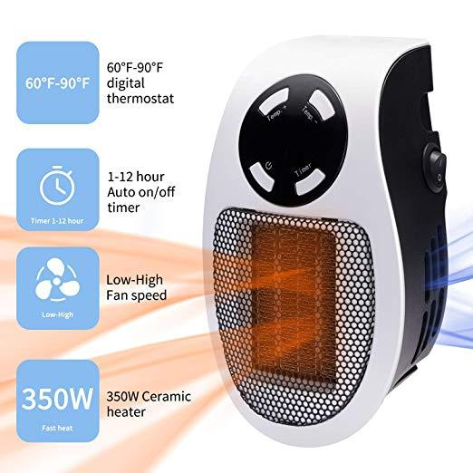 (Chirstmas Big Sale!Only 4Days Left)500W Portable Mini Electric Plug-In Wall Heater Handy Room Blower Fan Radiator