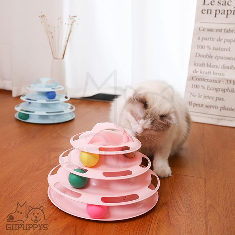 Tracks Cat Toy 4 Level Ball Track Towers for Cat