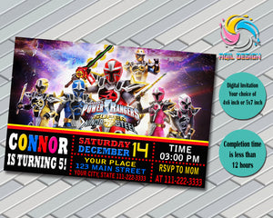 POWER RANGER Birthday Invitation, Digital File, Printable, Personalized File 4x6 or 5x7