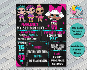 Lol Surprise Dolls Birthday Invitation, Digital File, Printable, Personalized File 16x20