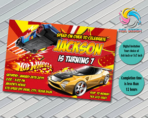 Hot Wheels Invitation, Birthday Invitation, Digital File, Printable, Personalized File 4x6 or 5x7