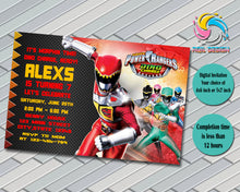 POWER RANGER DINO CHARGE Birthday Invitation, Digital File, Printable, Personalized File 4x6 or 5x7