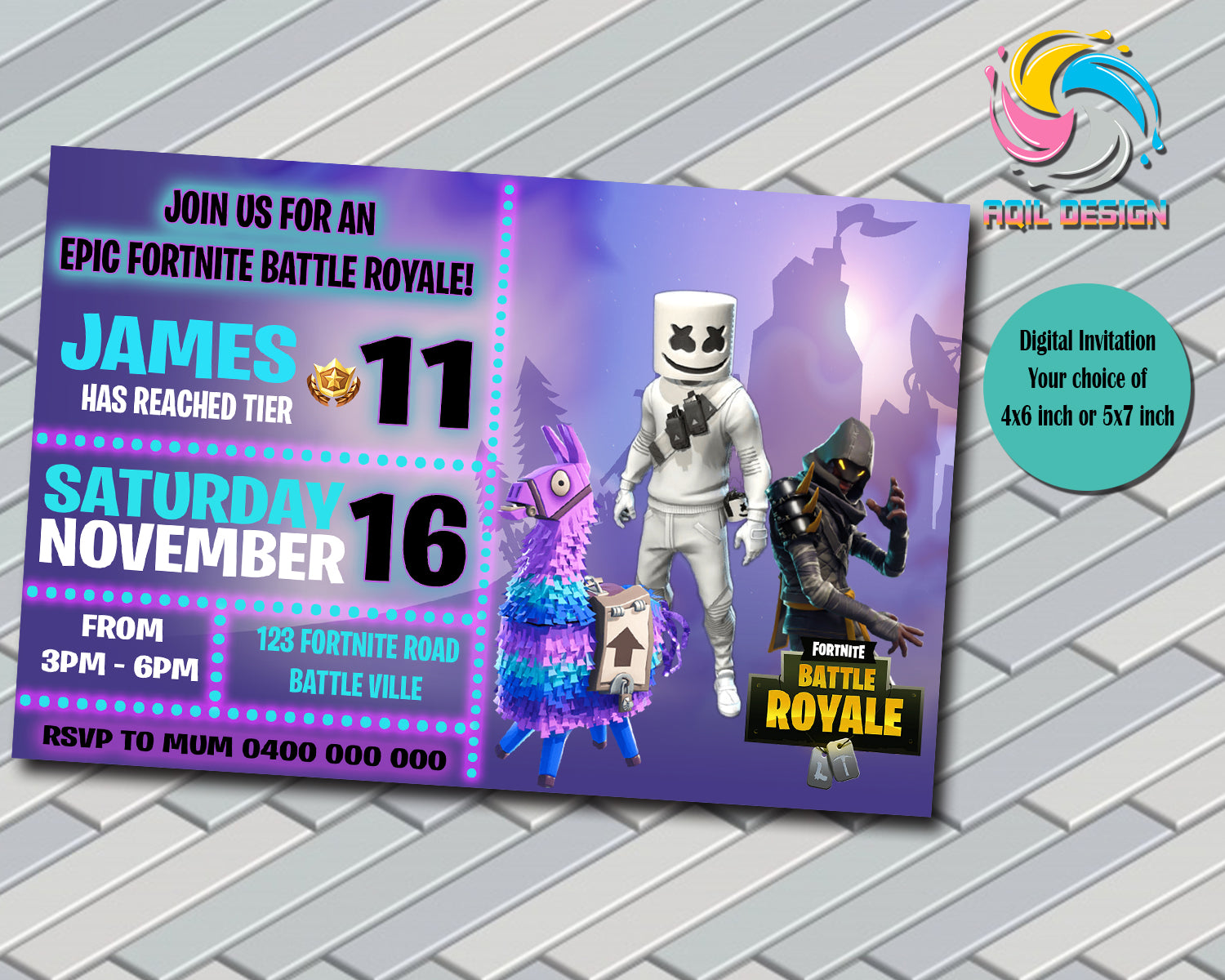 FORTNITE INVITATION, DIGITAL FILE, PRINTABLE, PERSONALIZED FILE 4X6 OR 5X7