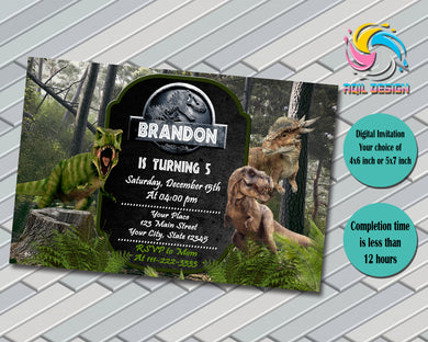 JURASSIC WORLD Birthday Invitation, Digital File, Printable, Personalized File 4x6 or 5x7