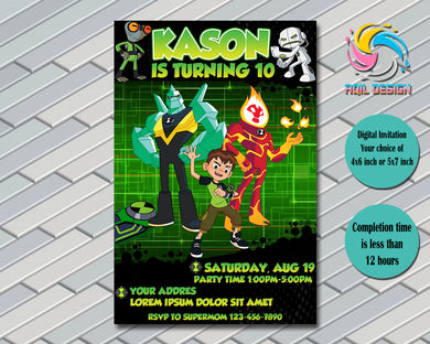 Ben 10 Invitation, Birthday Invitation, Digital File, Printable, Personalized File 4x6 or 5x7