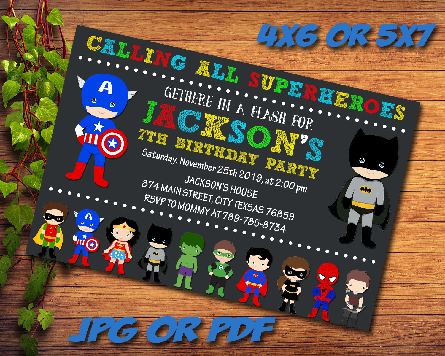 Superheros Party Birthday Invitation