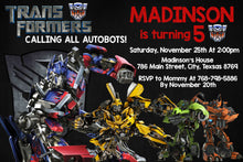 Transformers Party Birthday Invitation