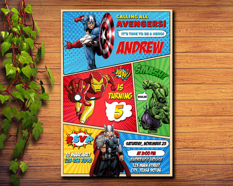 Superheroes Party Birthday Invitation