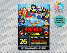 Dc Superhero Girls Party Birthday Invitation, Digital File, Printable, Personalized File 4x6 or 5x7