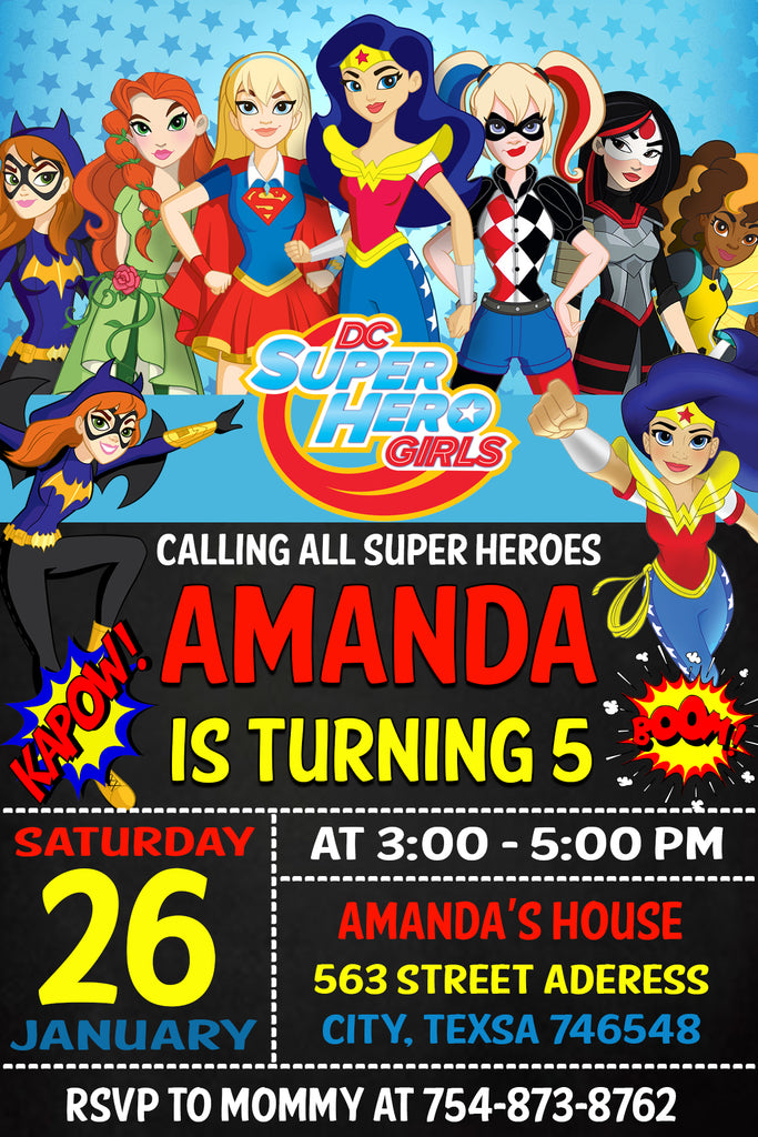 Dc Superhero Girls Party Birthday Invitation