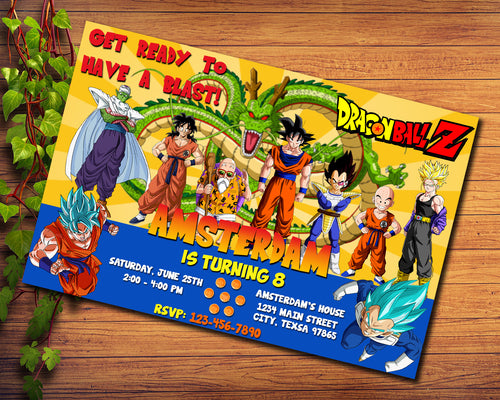 Dragon Ball Party Birthday Invitation