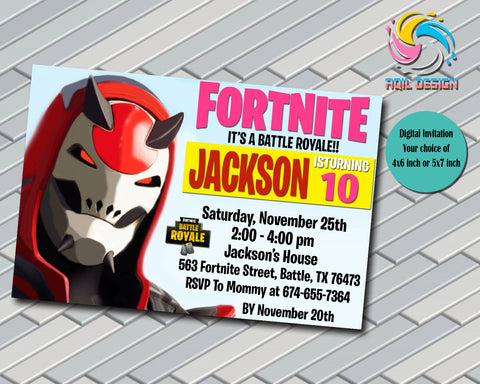Fortnite Battle Royale  Party Birthday Invitation