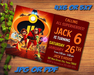 Incredibles Party Birthday Invitation