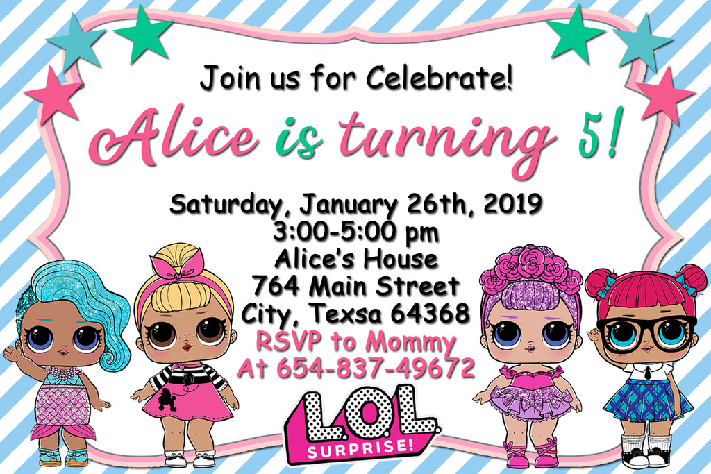 Lol Surprise Dolls Party Birthday Invitation