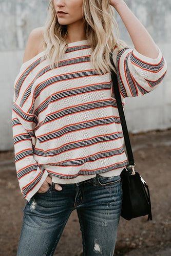 Fashion Stripes Long Sleeve Loose Knitting Sweaters