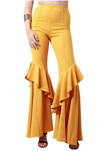 Fashion Pure Colour High Waisted Bell-Bottoms Trousers