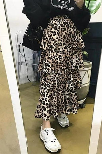 Sexy Sweet Chic Ruffled High Waist Leopard Print Long Skirt