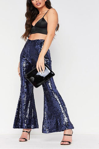 Sexy Club Sequins With Flared Pants