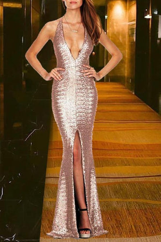 Sexy Deep V Sequin Slit Evening Dress