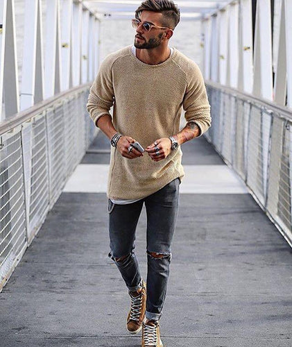 Basic Slim Long Sleeve Sweater T-Shirts